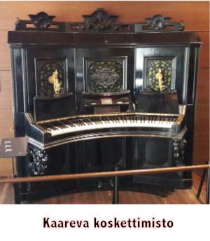 Kaareva koskettimisto pianossa